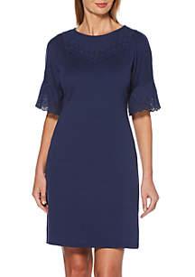 Rafaella Solid Flutter Sleeve Dress