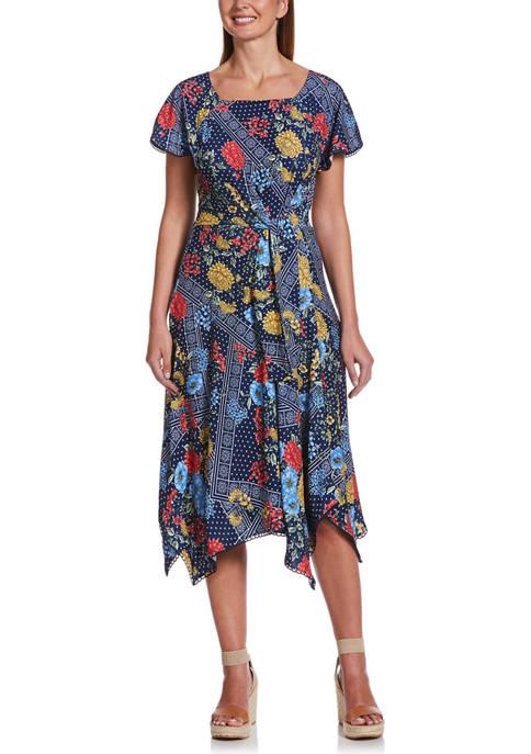 Womens Starboard Floral Patchwork Handkerchief Dress