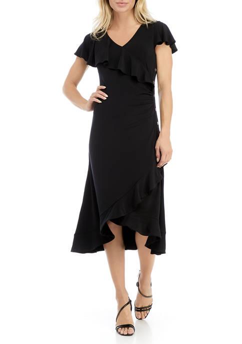 Womens Short Flutter Sleeve Ruffle Dress with Hardware
