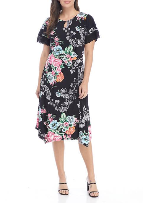 Womens Paisley Floral Eyelet Sleeve Handkerchief Dress