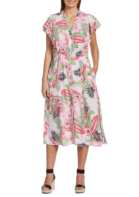 Womens Bold Floral Print Flutter Sleeve Dress