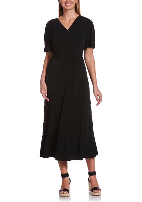 Womens Solid V Neck Flutter Sleeve Midi Dress with High Slits