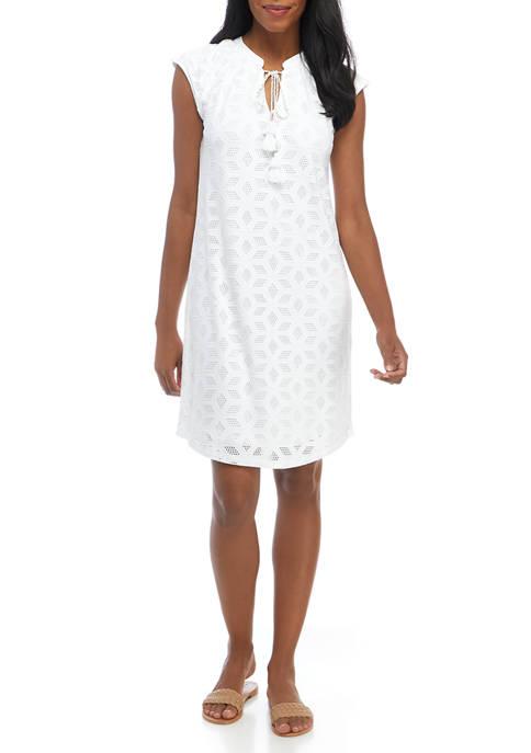 Rafaella Womens Knit Eyelet Sleeveless Dress