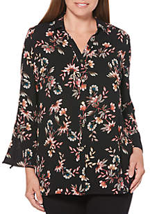 Tossed Floral Print Long Tunic