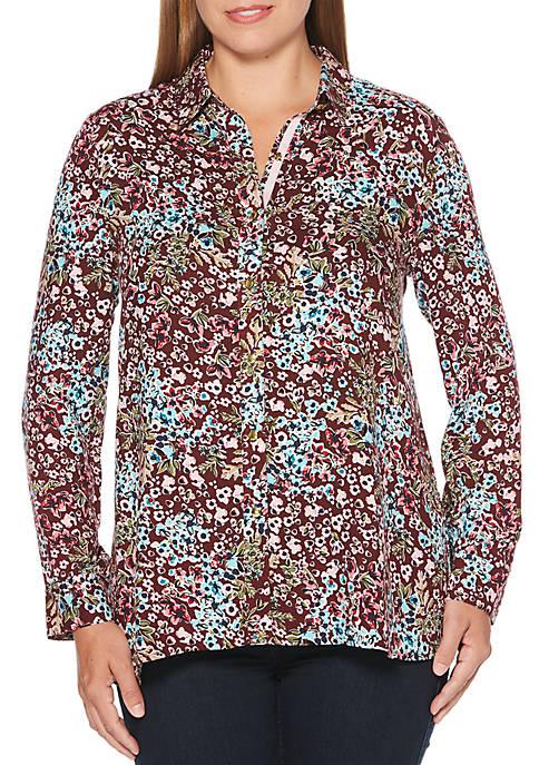 Ditsy Floral Print 3/4 Sleeve Top