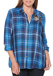 Plaid Print Embroidered Shirt