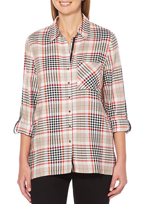 Rafaella Plaid 3/4 Sleeve Yarn Dyed Shirt