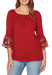 Off-The-Shoulder Embroidered Sleeve Top
