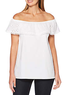 Solid Stretch Off-the-Shoulder Poplin Top