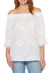Clip Dot Scalloped Top