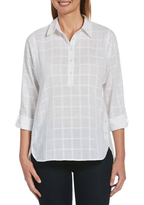 Rafaella Womens Window Dobby Long Sleeve Button-Down Tunic