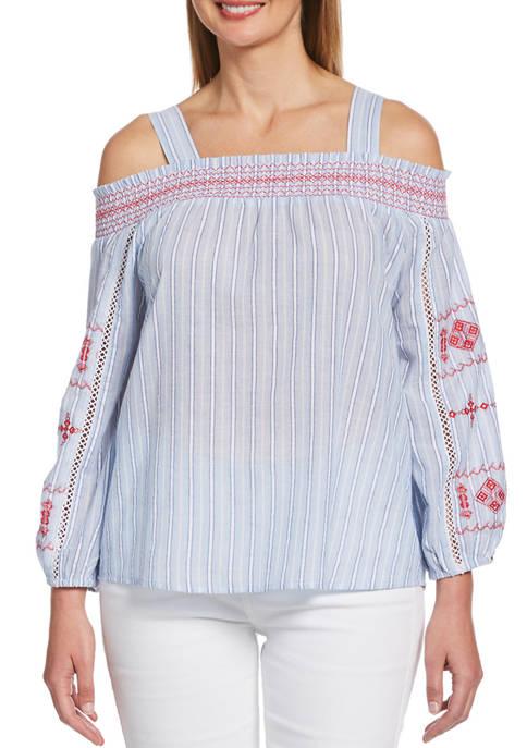 Rafaella Womens Cold Shoulder Embroidered Top