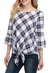 Rafaella Gingham Tie Front Shirt