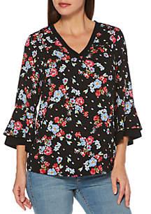 Rafaella 3/4 Bell Sleeve Floral Top