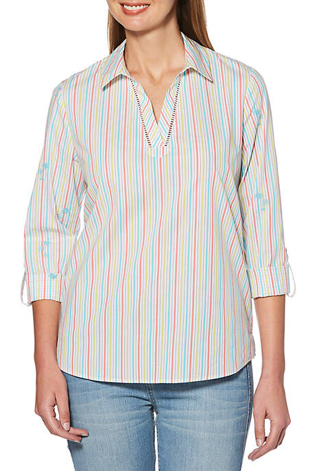 Rafaella Multi Pin Stripe Poplin Shirt