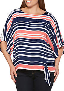 Rafaella Wide Stripe Crepe Dolman Top