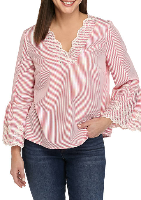 Womens 3/4 Sleeve Embroidered Top