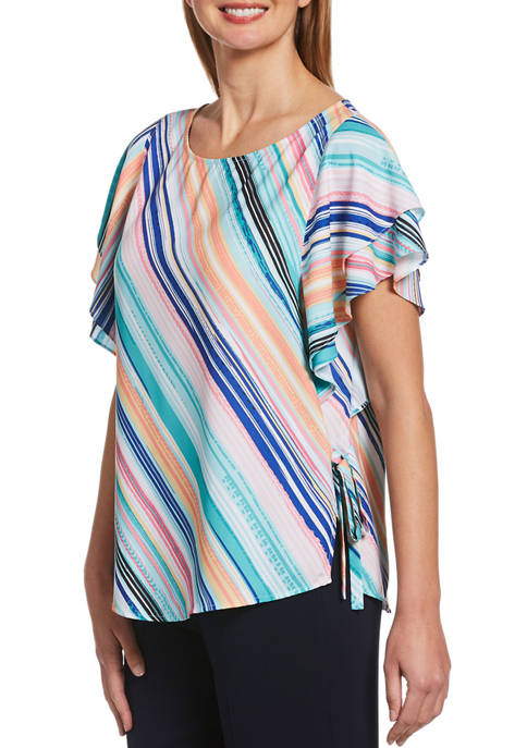 Rafaella Salerno Stripe Short Flutter Sleeve Printed Top