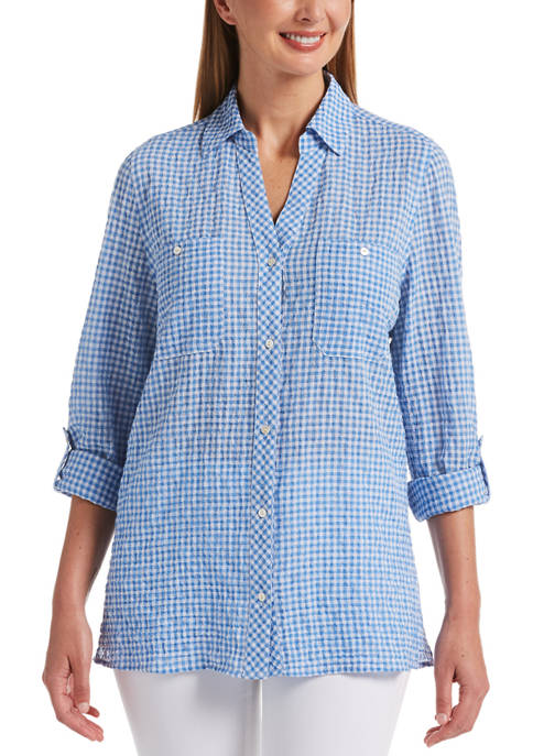 Womens Small Gingham Long Sleeve Shirt