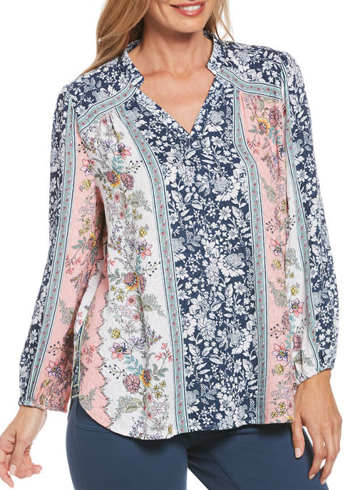 Womens Floral Print Blouson Sleeve Top