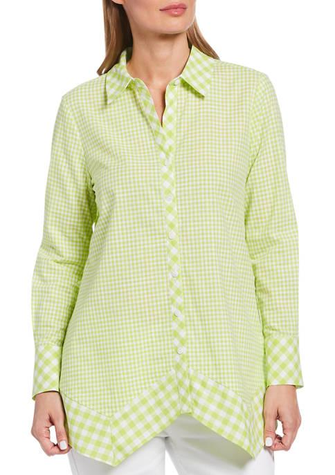 Womens Mixed Gingham Print Long Sleeve Button Down Shirt with Handkerchief Hem