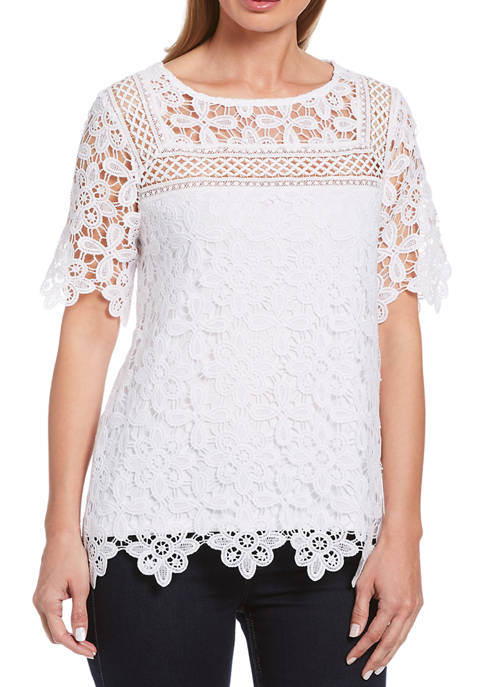Rafaella Womens Lace Short Sleeve Top with Scallop