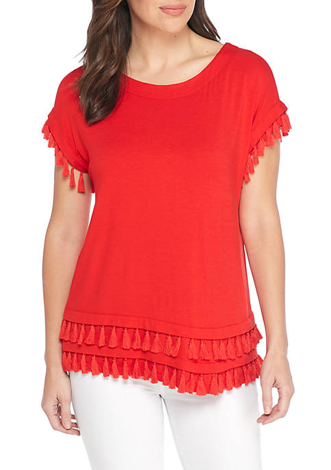 New Directions® Short Sleeve Fringe Hem Tee