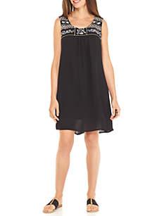 Sleeveless Embroidered Yoke Gauze Dress