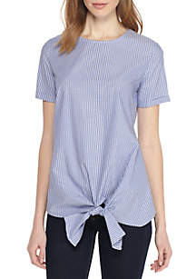 Short Sleeve Tie Front Poplin Stripe Shirt