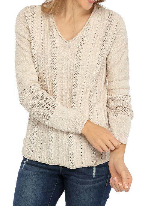 Petite Textured V Neck Sweater