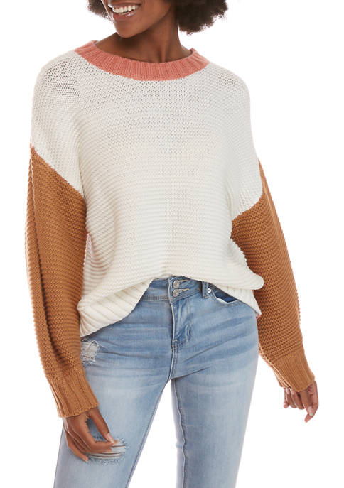 Womens Color Block Elbow Sleeve Sweater