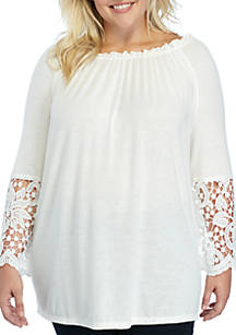 7800e6545b4 New Directions®. New Directions® Plus Size Off The Shoulder Crochet Bell  Sleeve Top