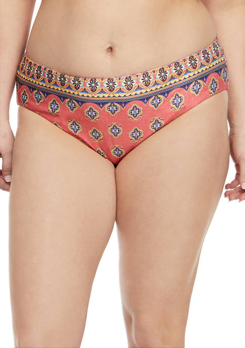 Becca Plus Size Tapestry Bloom Reversible Hipster Swim
