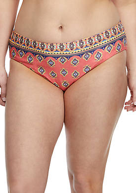 Plus Size Tapestry Bloom Reversible Hipster Swim Bottoms