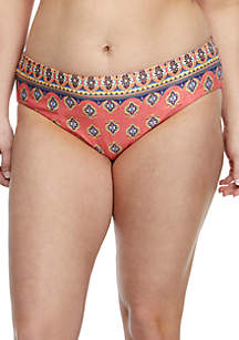Becca Plus Size Tapestry Bloom Reversible Hipster Swim Bottoms