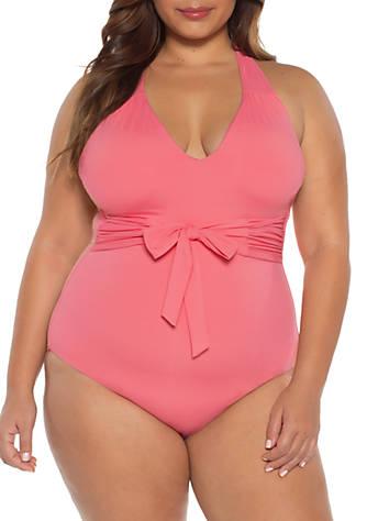 63724b82db Becca Plus Size Color Code Wrap One Piece Swimsuit