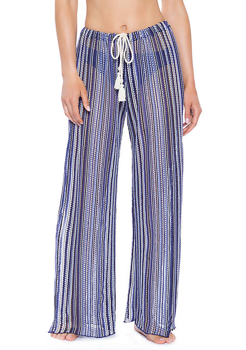 Pierside Crochet Striped Swim Cover Up Pants