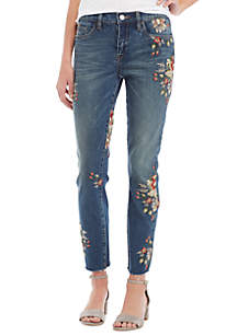 Floral Embroidered ANkle Pants