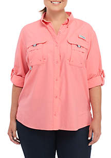 Plus Size Long Sleeve Bahama Button Down Shirt