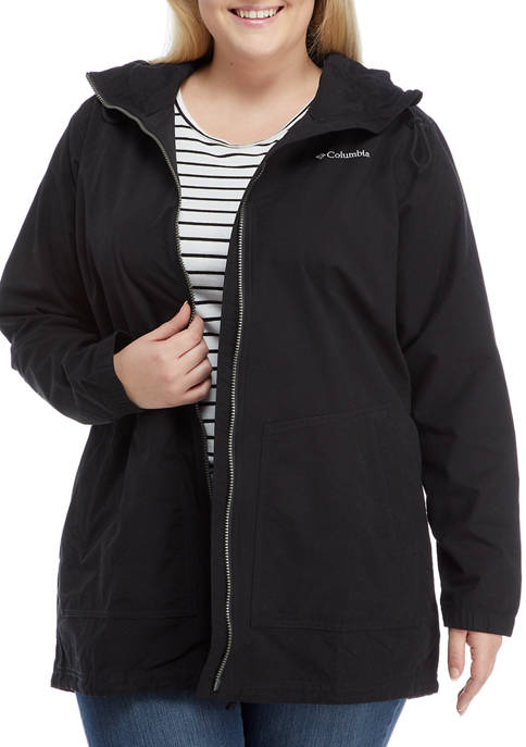 Plus Size Solid Hooded Jacket