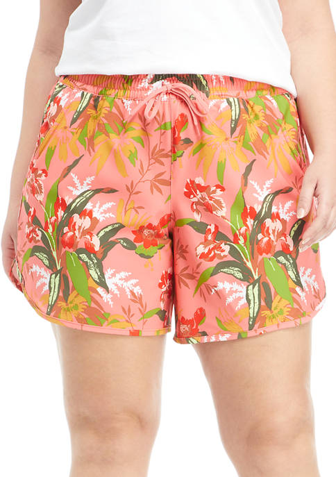 Plus Size Printed Stretch Water Shorts
