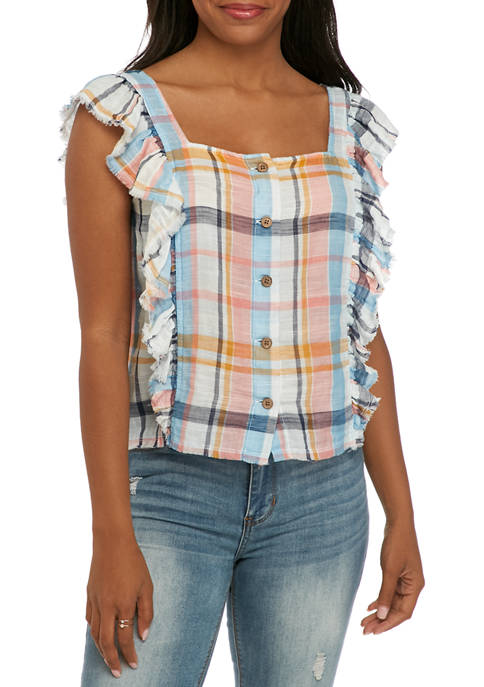 Ruffle Front Button Down Textured Top