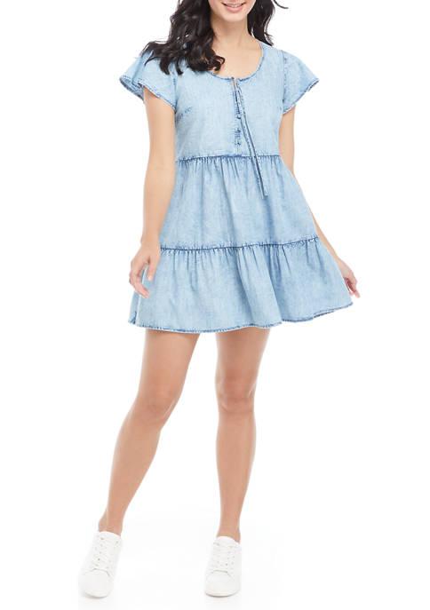 TRUE CRAFT Short Sleeve Tiered Dress