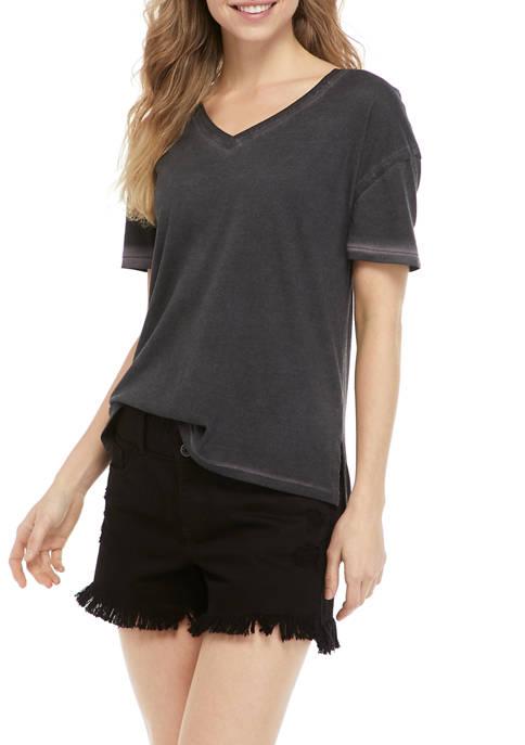 TRUE CRAFT Short Sleeve Boxy V-Neck T-Shirt