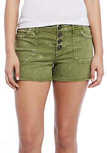 Button Front Twill Short