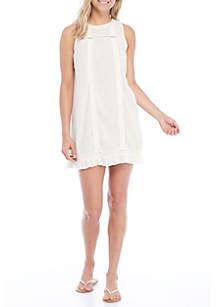Lace Insert Ruffle Hem Dress