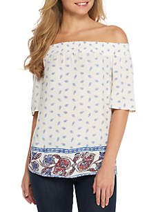 Off-the-Shoulder Embroidered Blouse