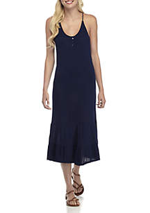 Macrame Back Henley Dress