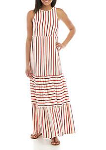 TRUE CRAFT Sleeveless Tiered Midi Dress