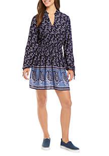 TRUE CRAFT Long Sleeve Printed Wester Dress